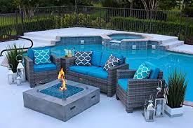 Concrete patio with square fire pit Cast Concrete Image Unavailable Amazoncom Amazoncom Akoya Outdoor Essentials Piece 42