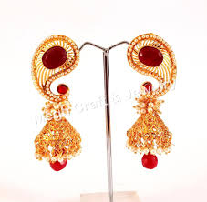 South Indian Traditional Gold Earrings Designs Gold Plated Designer Jhumka Earrings South Indian Wedding Wear Earrings Indian Traditional Pearl Beaded Earrings Buy Indian Party Wear