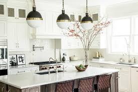kitchen island with three hicks pendants