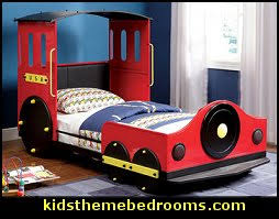 train theme decorating for boys bedrooms - theme beds boy toddlers train  theme bedrooms - boys theme beds - Train Bed - boys furniture train theme  beds