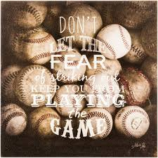 fear of striking out baseball wood wall decor