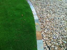 artificial turf with stone edging