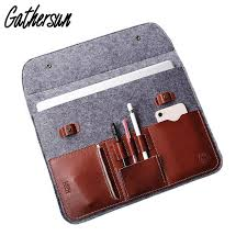 12 13 3 laptop protective bag wool felt leather sleeve for macbook air pro vintage felt leather case with power adapter bag