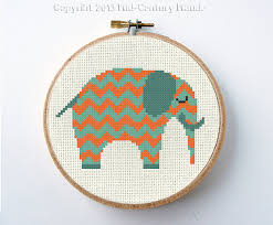 Modern Cross Stitch Patterns Adorable Elephant Chevron Modern Cross Stitch Pattern Instant Download PDF