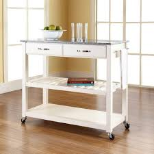 Granite Top Kitchen Cart Crosley White Kitchen Cart With Granite Top Kf30053wh The Home Depot