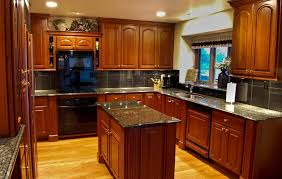 kitchen wall colors with cherry cabinets beige marble countertop single handle faucet hood grey double bowl