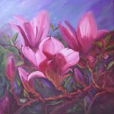 magnolia trio oil painting