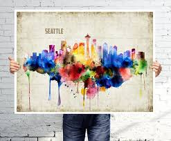 seattle art print poster skyline watercolor wall art abstract painting on seattle wall art prints with 30 best want images on pinterest seattle skyline tattoo city and