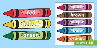 Free Colour Words On Crayons Crayon Colour Display