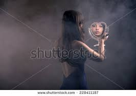 woman holding hand mirror. Teenage Girl With Long Brown Hair Doing Mascara And Holding Little Mirror. Over The Shoulder Woman Hand Mirror