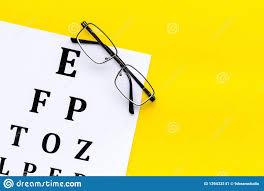 Eye Examination Eyesight Test Chart And Glasses On Yellow