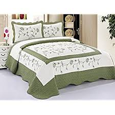 Amazon.com: 3pcs High Quality Fully Quilted Embroidery Quilts ... & 3pcs High Quality Fully Quilted Embroidery Quilts Bedspread Bed Coverlets  Cover Set , Queen King ( Adamdwight.com
