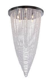 large modern cascading crystal flush ceiling light chandelier bhs roma