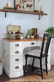 office furniture desk vintage chocolate varnished. Painted Desk In Varnished Ivory Town Country Living Office Furniture Vintage Chocolate