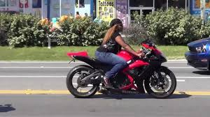 Big ass woman on motorcycle