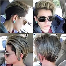 Short Lesbian Hair Undercut Man Bun Topknot Icy Summer Hair Hair