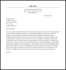 Front Desk Cover Letters Professional Front Desk Receptionist Cover Letter Sample