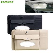 3 in 1 leather case car sun visor box with tissue storage organizer for glasses folder leather cd case