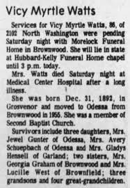 Vicy Myrtle Willis Watts Obituary - Newspapers.com
