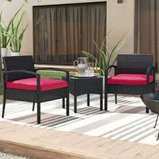the porch furniture. Kobe 3 Piece Rattan Conversation Set With Cushions The Porch Furniture