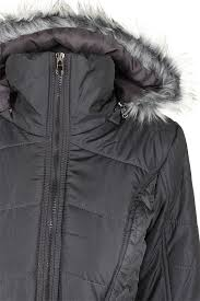 rampage charcoal grey faux fur trim hooded belted puffer coat l
