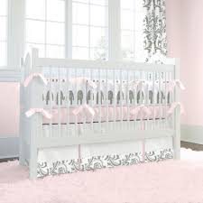 image of gallery pink and gray crib bedding