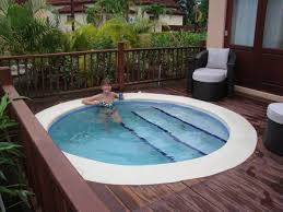 swimming pool, Gorgeous Sofa With Padded Seat And Pillow Installed Near  With Small Pool Designs