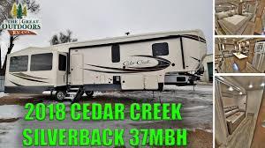cedar creek rv floor plans beautiful new mid bunkhouse 2018 cedar creek silverback 37mbh island kitchen