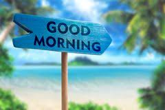 good morning sign board arrow on beach with sunshine background stock images