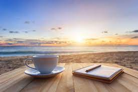 See 43 reviews, articles, and 39 photos of sunrise beach, ranked no.6 on tripadvisor among 13 attractions in kokkari. Coffee Cup On Wood Table At Sunset Or Sunrise Beach The Clr Group