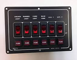 amazon com 6 circuit switch panel, horizontal sports & outdoors Old Fuse Box at Run Nan Fuse Box