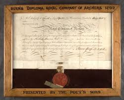 diploma admitting robert burns to membership of the royal company  view large image