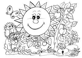 Small Picture Spring Coloring Pages SUNNY GARDEN Free Printable Coloring Pages