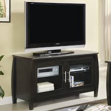 Short Media Cabinet Black Wooden Cabinet With Double Glass Doors Plus Silver Steel