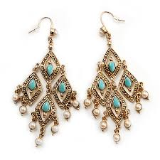 gold tone turquoise coloured acrylic bead imitation pearl chandelier earrings 8 5cm drop