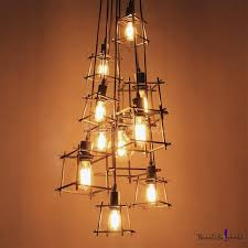 ten light wrought iron branched industrial led multi light pendant takeluckhome com