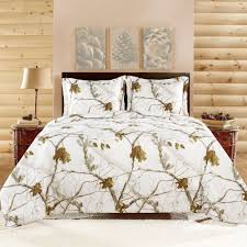 details about realtree camo bedding comforter set shams queen size white quilting reversible