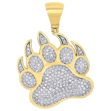 details about 10k yellow gold diamond grizzly brown bear paw print pendant 1 50 charm 1 40 ct