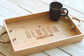Custom Personalized Wooden Serving Tray Engraved Name and
