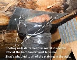 loose bath fan duct in attic