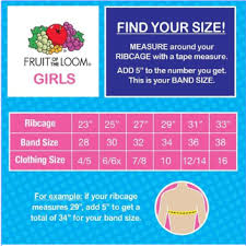 Walmart Sports Bra Size Chart Fruit Of The Loom Fruit Of The Loom Girls Cotton Stretch