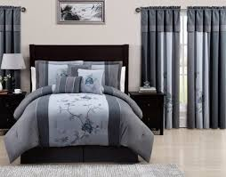 grey bedding and matching curtains chezmoi collection 7 piece embroidered fl bed in a