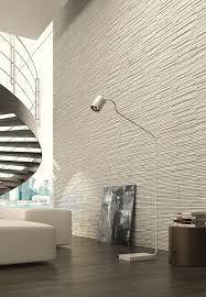 wall feature with skinny white tile/stone (textured)