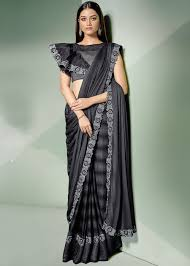 Designer Stitched Saree Shaded Grey Pre Stitched Saree With Designer Blouse