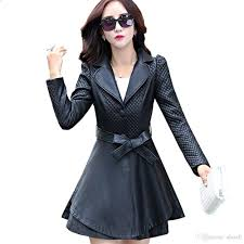 2017 womens trench coats black red colors jpg