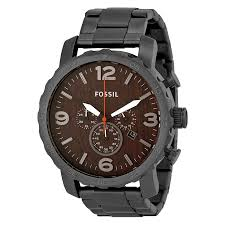 fossil nate chronograph wood dial stainless steel mens watch zoom