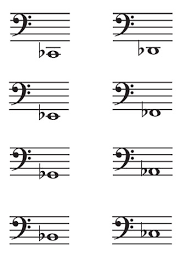 Music Note Flash Cards Bass Clef C2 C4 Flats