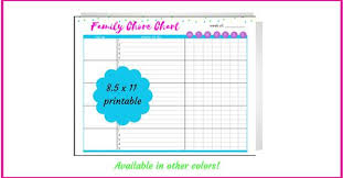 Multicolored Family Chore Chart Printable Chores By Name Housework Chore List To Do Around The House Daily Chores Weekly Chores