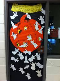 Halloween Door Decorated with Cute Ghosts
