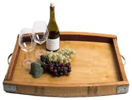 wine barrel serving tray with metal band accents rustic serving trays alpine wine design outdoor finish wine barrel